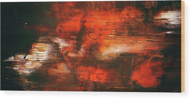 After Midnight Black Orange And White Contemporary Abstract Art Wood Print