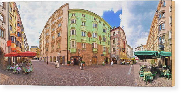 Innsbruck Wood Print featuring the photograph Historic Street Of Innsbruck Panoramic View by Brch Photography