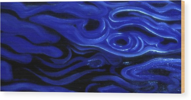 Enio Wood Print featuring the mixed media Brush Strokes In Blue by Genio GgXpress