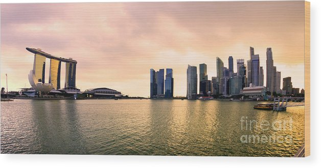 Night Wood Print featuring the photograph Singapore City Skyline by Luciano Mortula