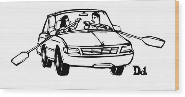 Automobiles Wood Print featuring the drawing New Yorker September 21st, 2009 by Drew Dernavich