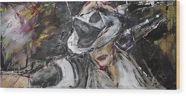 Michael Jackson Wood Print featuring the painting Black Or White by Lucy Matta