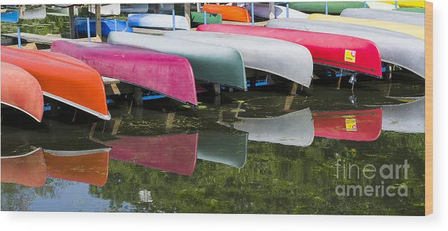 Canoes Wood Print featuring the photograph canoes - Lake Wingra - Madison by Steven Ralser