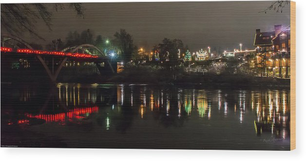 Panorama Wood Print featuring the photograph Caveman Bridge And Taprock At Christmas - Panorama by Mick Anderson