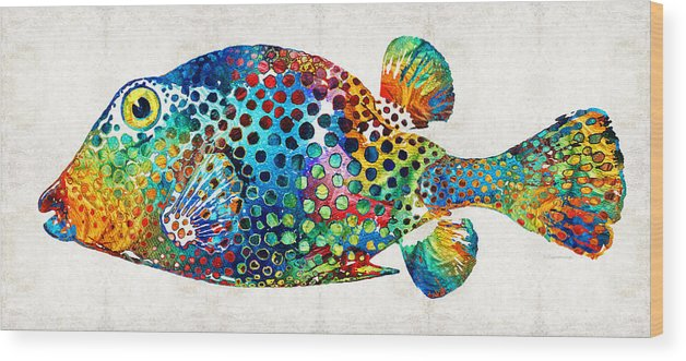 Fish Wood Print featuring the painting Puffer Fish Art - Puff Love - By Sharon Cummings by Sharon Cummings