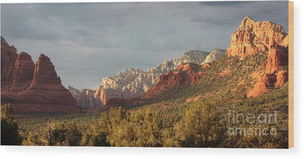 Sedona Wood Print featuring the photograph Sedona Sunshine Panorama by Carol Groenen