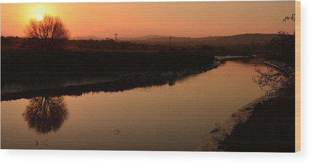 Sunrise Wood Print featuring the photograph Sunrise Milltown by Barbara Walsh