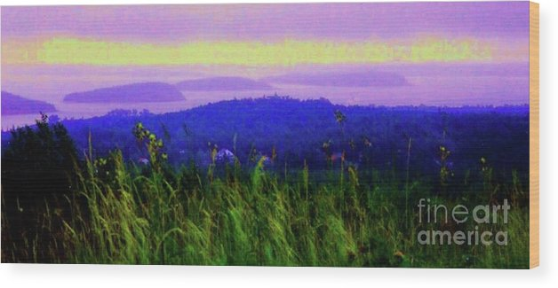 Acadia Wood Print featuring the mixed media Acadia Sunrise by Desiree Paquette