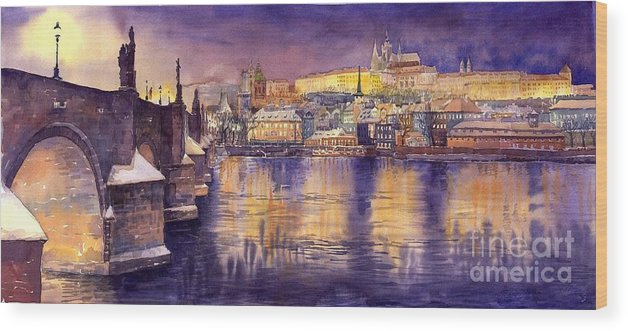 Cityscape Wood Print featuring the painting Charles Bridge And Prague Castle With The Vltava River by Yuriy Shevchuk