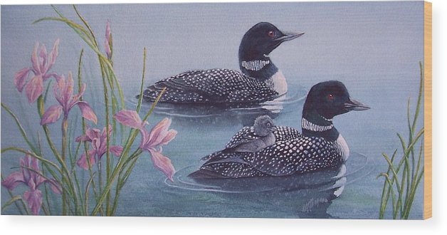 Wildlife Wood Print featuring the painting Loon Family by Cherry Woodbury