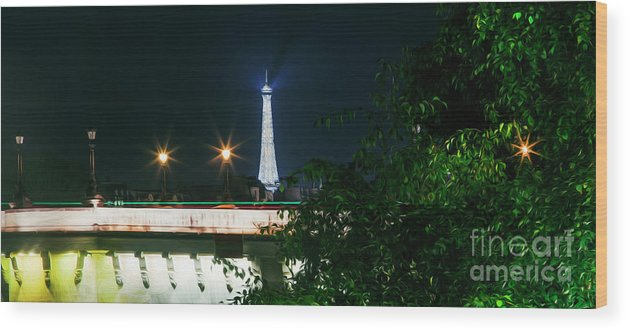 Paris Wood Print featuring the photograph Paris At Night 14 Art by Alex Art and Photo