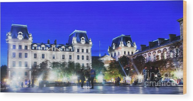Paris Wood Print featuring the photograph Paris At Night 21 by Alex Art and Photo