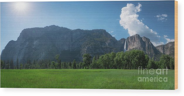 Yosemite Valley Wood Print featuring the photograph Yosemite National Park Panorama by Michael Ver Sprill