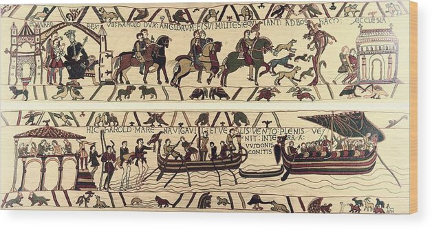 Horizontal Wood Print featuring the photograph Tapestry Of Bayeux. The Complete by Everett