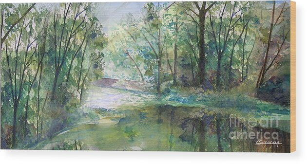 River Wood Print featuring the painting The River Going Out From The Forest by Christian Simonian