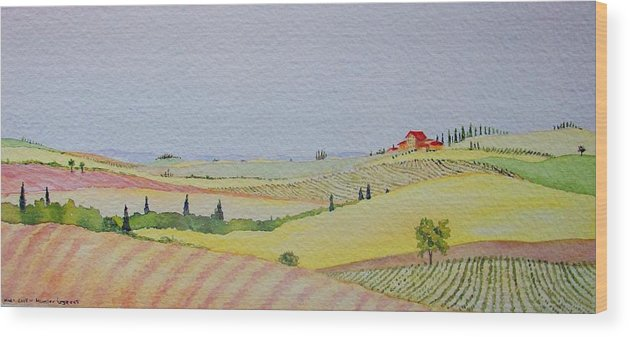 Watercolor Wood Print featuring the painting Tuscan Hillside Three by Mary Ellen Mueller Legault