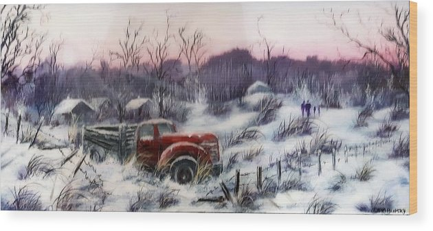 Old Truck Wood Print featuring the painting #1120 Distant Memories by Linda Skibinsky