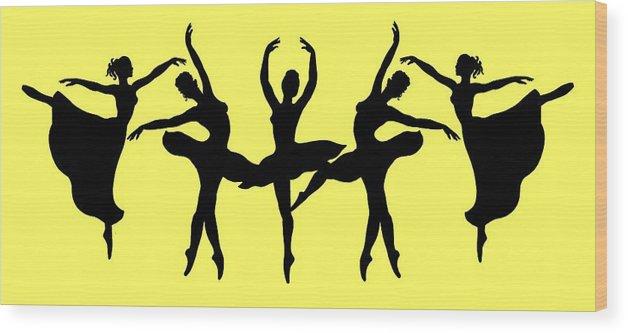 Black Silhouette Wood Print featuring the painting Dancing Ballerinas Silhouette by Irina Sztukowski
