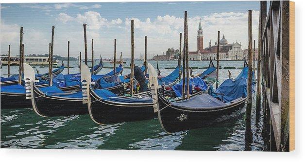 Gondolas Wood Print featuring the photograph Gondolas On The Grand Canal by Bob VonDrachek
