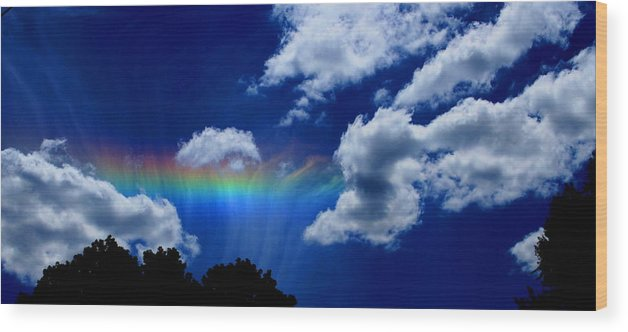 Heavens Rainbow Wood Print featuring the photograph Heavens Rainbow by Linda Sannuti