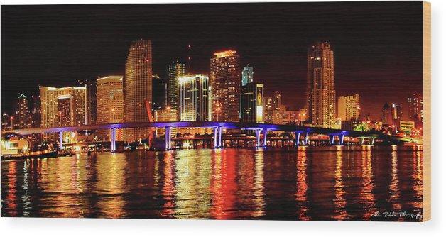 Miami Wood Print featuring the photograph Miami At Night -2 by Ali Zaidi