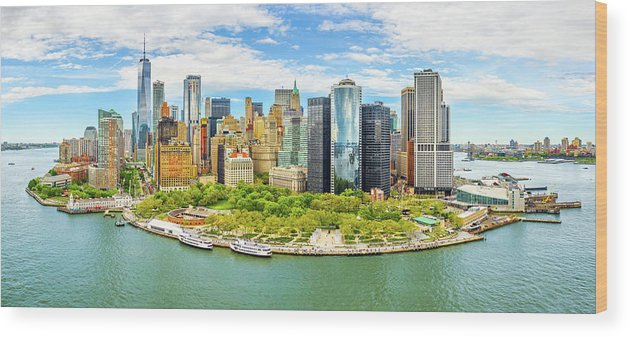 New York Wood Print featuring the photograph Aerial Panorama Of Downtown New York Skyline by Mihai Andritoiu