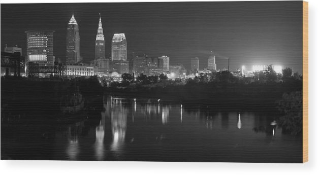 Cleveland Wood Print featuring the photograph A Hazy Cleveland Night At Progressive Field by Clint Buhler