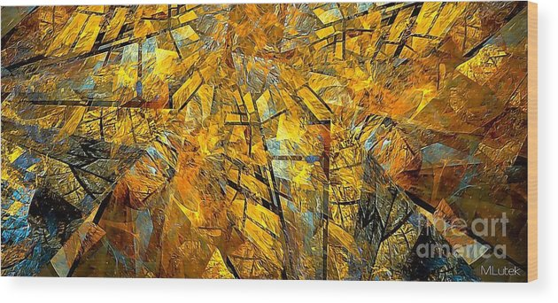 Abstract Wood Print featuring the painting Abstraction 635-12-13 Marucii by Marek Lutek