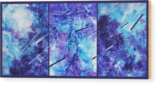 Frozen Wood Print featuring the painting Frozen Castle Window Blue Abstract by Irina Sztukowski
