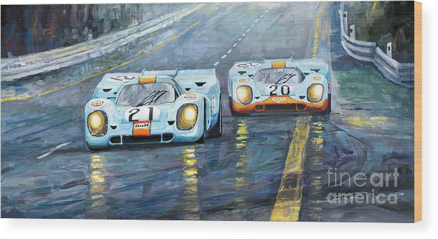 Automotive Wood Print featuring the painting Porsche 917 K Gulf Spa Francorchamps 1971 by Yuriy Shevchuk