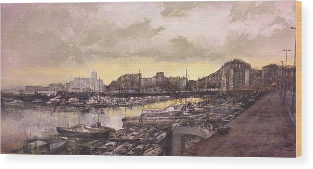 Small Port Wood Print featuring the painting Small-port Santander by Tomas Castano