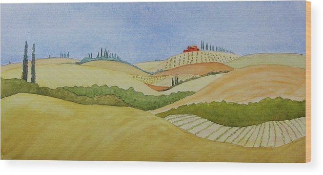 Italy Wood Print featuring the painting Tuscan Hillside Two by Mary Ellen Mueller Legault