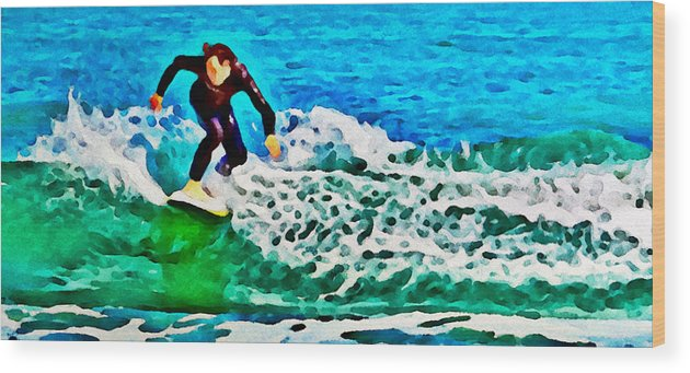 Surfer Waves Wave Ocean Beach Alicegipsonphotographs Wood Print featuring the photograph Wave Surfer by Alice Gipson