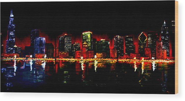 Cityscape Wood Print featuring the painting Lake Shore Drive by Melissa Wiater Chaney