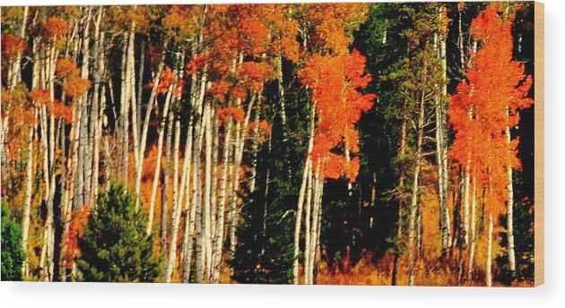 Lake View Wood Print featuring the digital art Yellowstone Park by Aron Chervin
