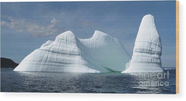 Iceberg Photograph Ice Water Ocean Sea Atlantic Summer Newfoundland Wood Print featuring the photograph Iceberg by Seon-Jeong Kim