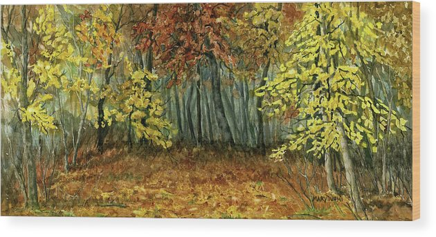 Autumn Wood Print featuring the painting Autumn Hollow by Mary Tuomi