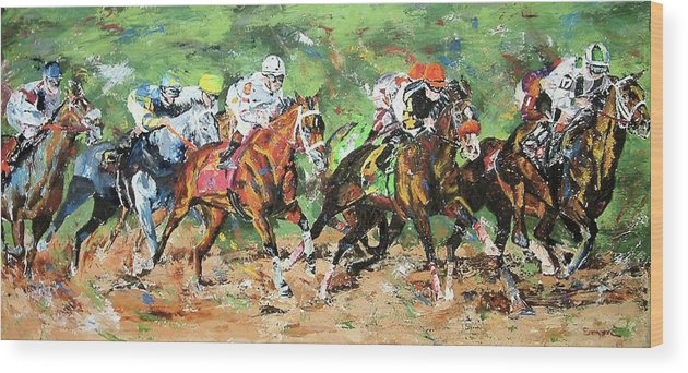 Horse Racing Wood Print featuring the painting Big Brown Derby by Debbie Sampson