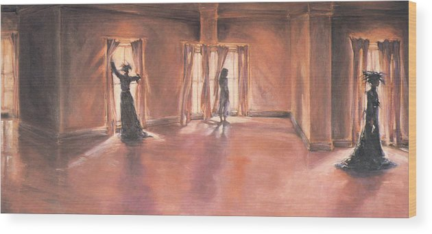 Victorian Wood Print featuring the painting Shadows Of Mourning by Linda Crockett