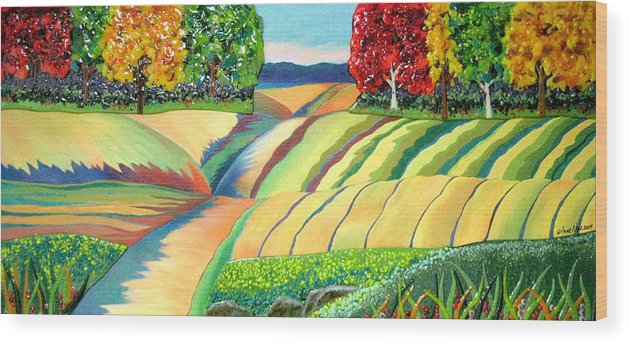 Landscape Wood Print featuring the mixed media The Road I Traveled by Anne Nye