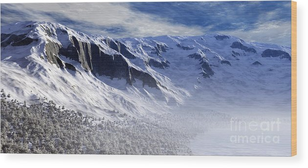 Mountains Wood Print featuring the digital art Tranquility by Richard Rizzo