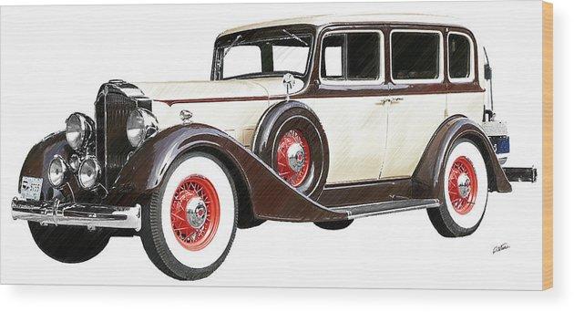 Packard Sedan Wood Print featuring the drawing Vintage 1934 Packard Sedan - Dwp2737447 by Dean Wittle