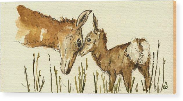 Bambi Wood Print featuring the painting Bambi Deer by Juan Bosco