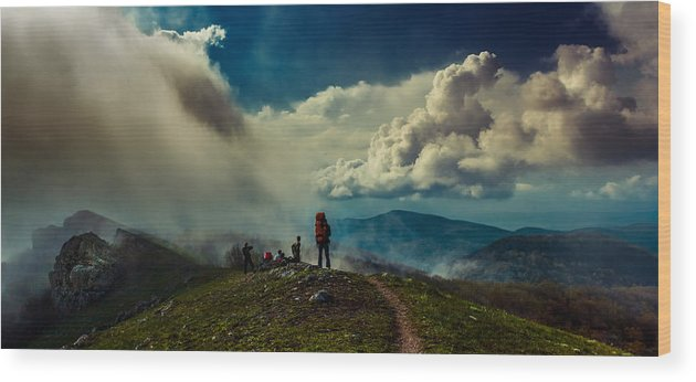 Mountains Wood Print featuring the photograph Cloud Factory by Dmytro Korol