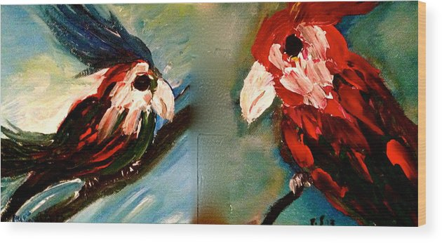Birds.parrots Wood Print featuring the painting Parrots by Pretchill Smith