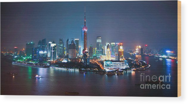 Shanghai Wood Print featuring the photograph Shanghai Panorama by Delphimages Photo Creations