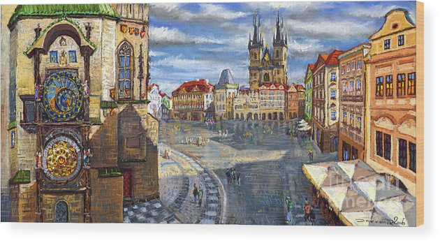 Pastel Wood Print featuring the painting Prague Old Town Squere by Yuriy Shevchuk