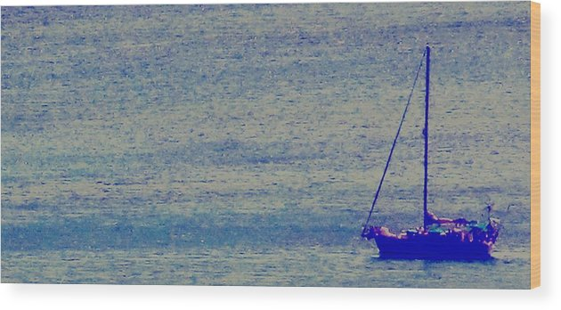 Boat Wood Print featuring the photograph At Evening Anchor by Ian MacDonald