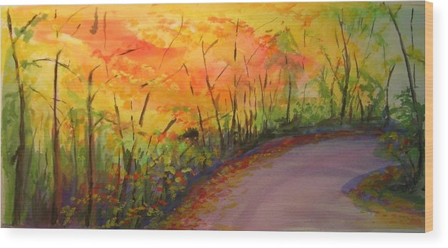 Original Landscape Impressionist Painting Wood Print featuring the painting Autumn Lane IIi by Lizzy Forrester