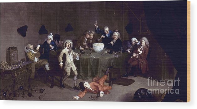 18th Century Wood Print featuring the photograph Hogarth: Midnight, 1731 by Granger